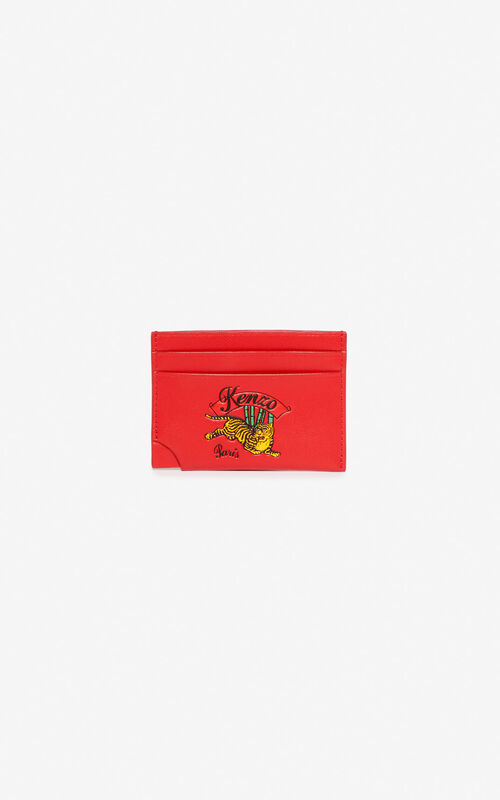 MEDIUM RED 'Jumping Tiger' leather card holder for men KENZO