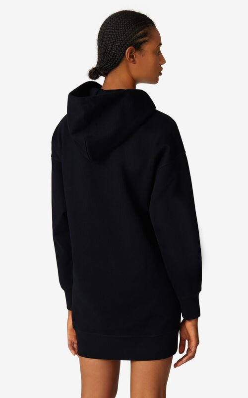 BLACK K-Tiger oversized hooded sweatshirt dress for women KENZO