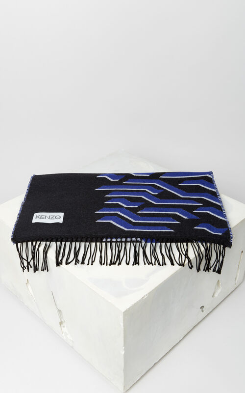 BLACK 'Geo Tiger' wool scarf for unisex KENZO