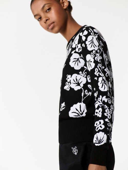 Flower Leaf sweater, BLACK, KENZO