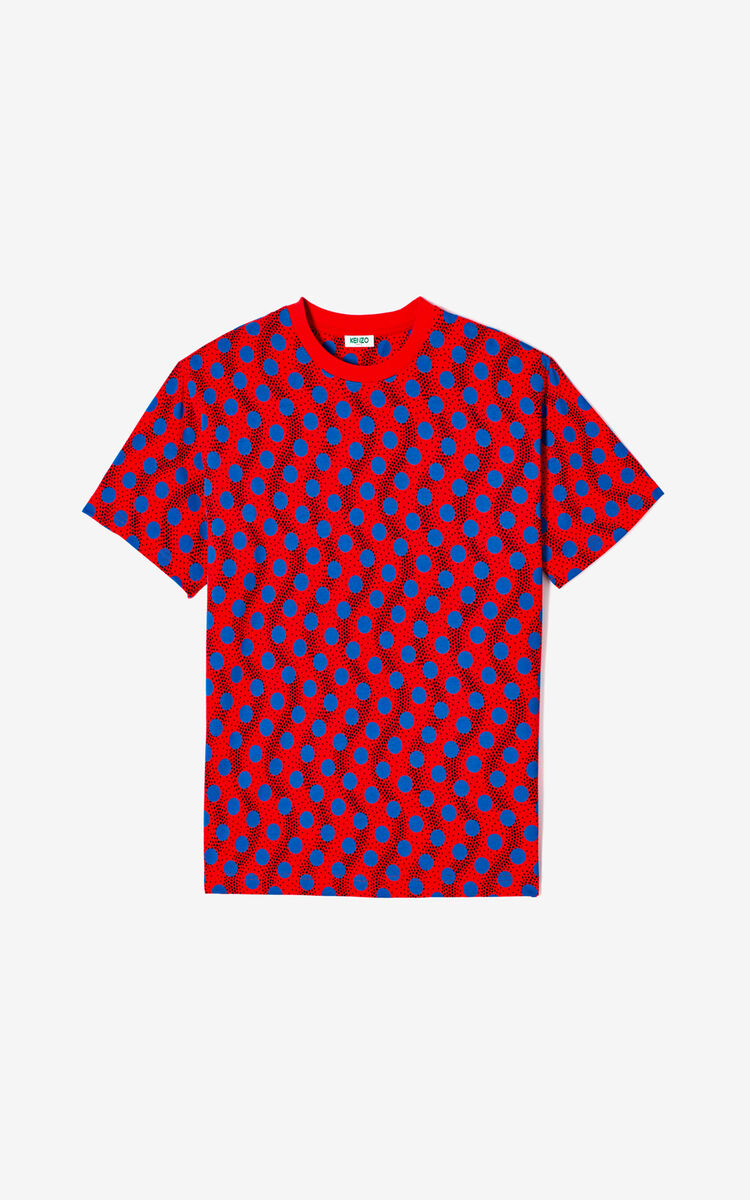 MEDIUM RED 'Wavy Dots' T-shirt for men KENZO