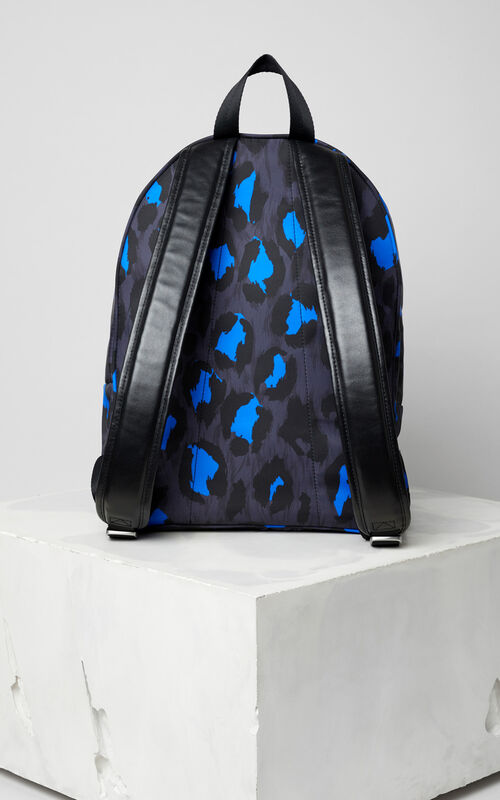 BLACK 'Leopard' print backpack for men KENZO