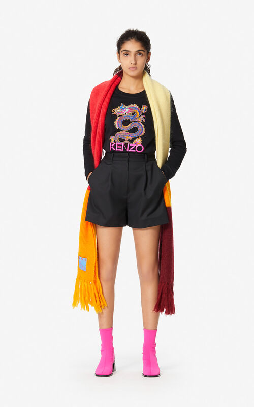 MULTICOLOR Fringed colour-block scarf for women KENZO