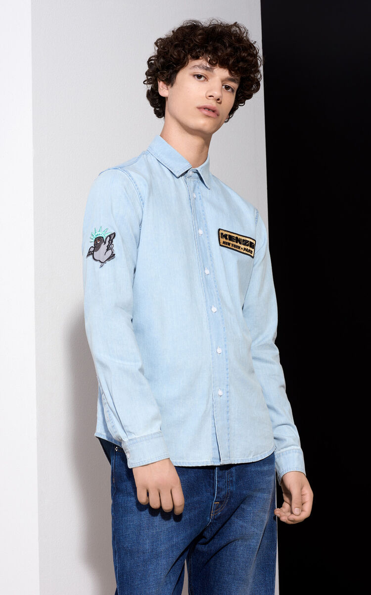 SKY BLUE Badges Denim Overshirt for men KENZO