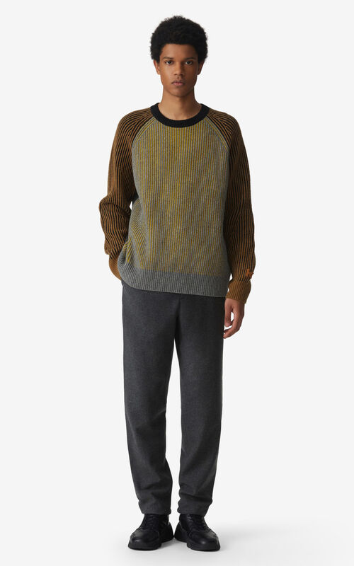 STONE GREY Wool jogging trousers for men KENZO