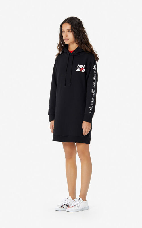 BLACK 'Chinese New Year Capsule' 'Kung Fu Rat' sweatshirt dress for women KENZO