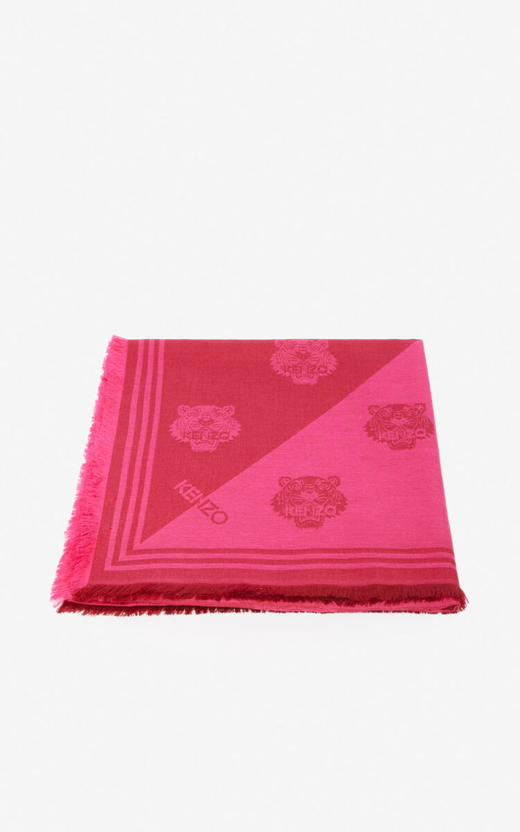 CORAL Large two-tone Tiger scarf for unisex KENZO