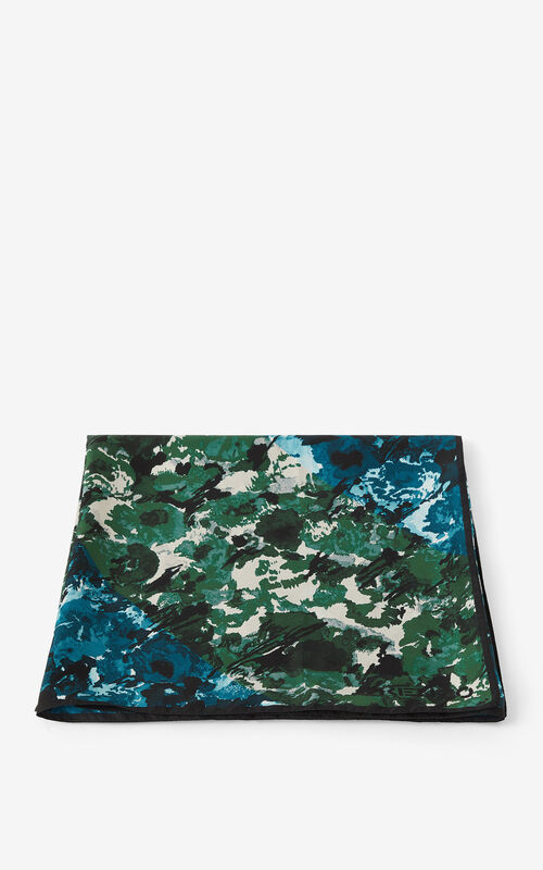 NAVY BLUE 'Aquarelle' silk square for women KENZO