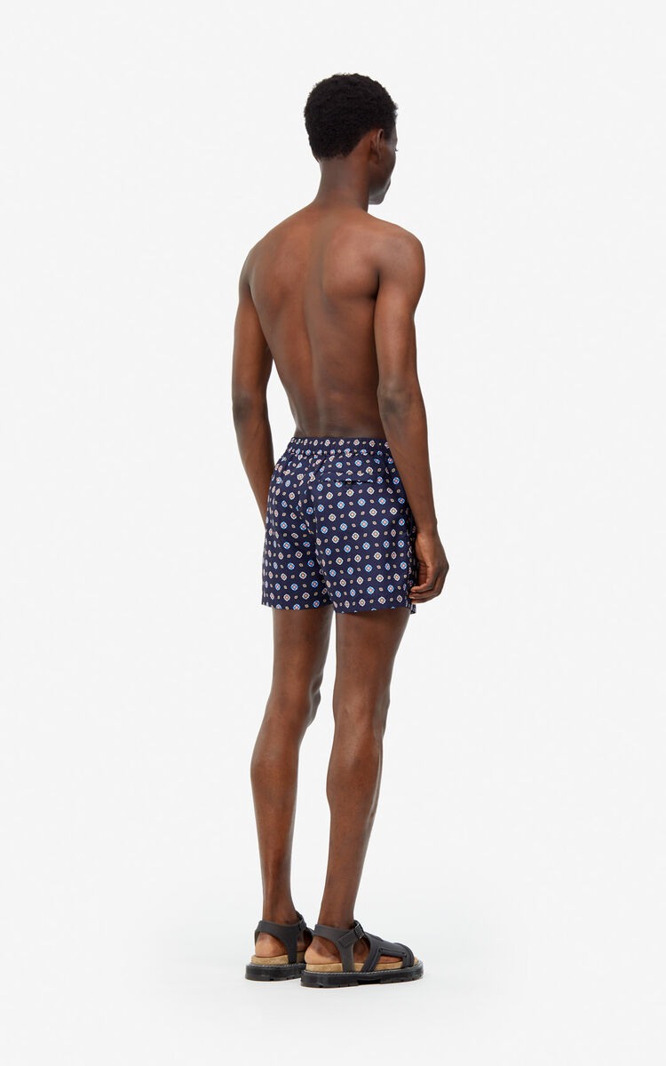 MIDNIGHT BLUE KENZO Logo swim trunks for men