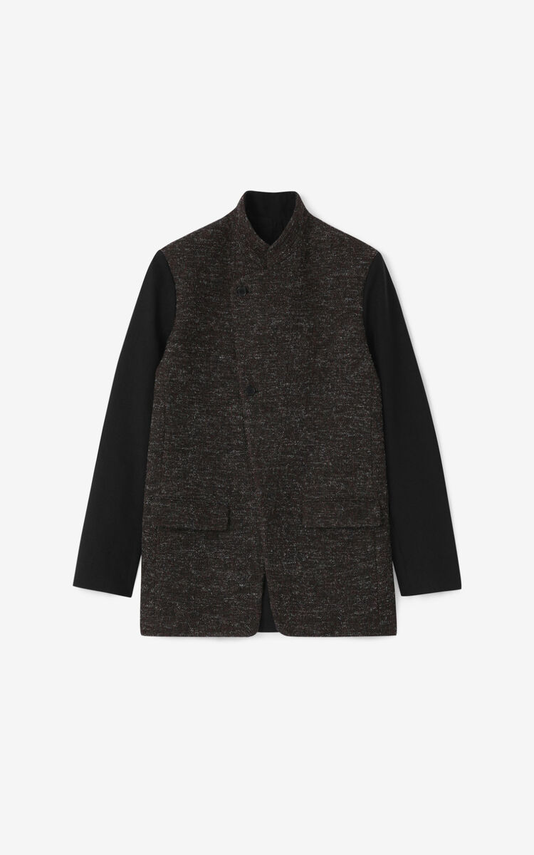 DARK BROWN Double-sided wool jacket for men KENZO