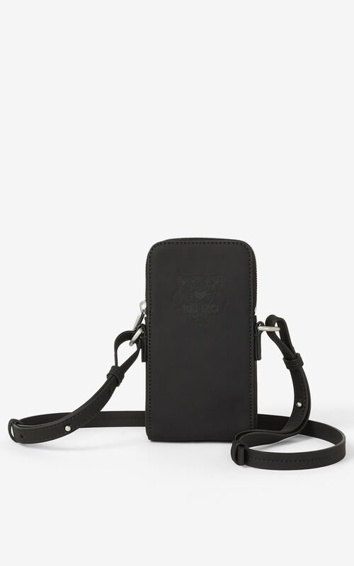 BLACK Preppy Tiger crossbody phone case for unisex KENZO