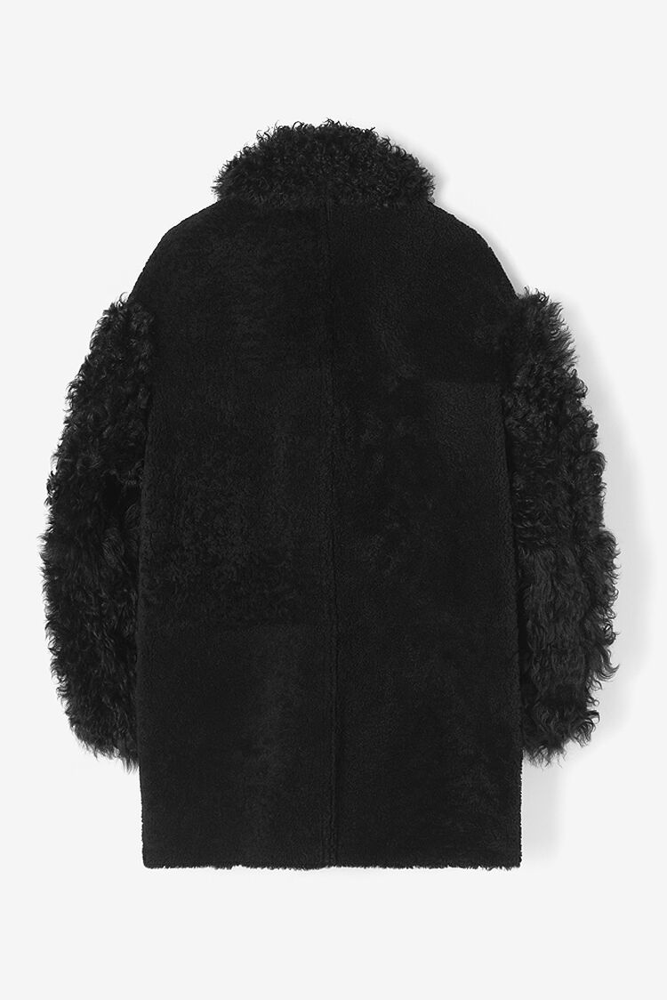 BLACK Plain leather and shearling coat for women KENZO