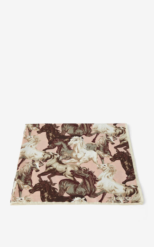 FADED PINK 'Chevaux KENZO' silk square for unisex