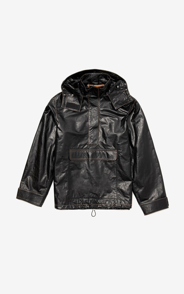 BLACK Hooded leather jacket for women KENZO