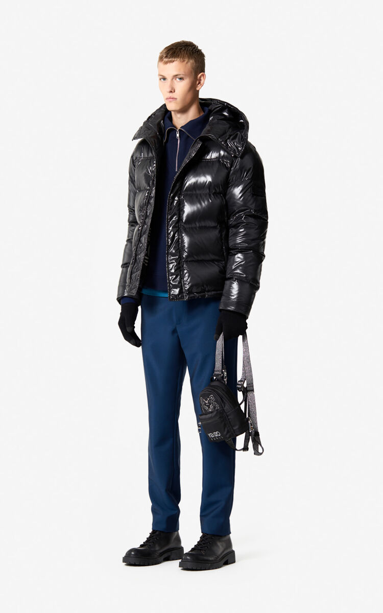 BLACK Quilted winter jacket with hood for men KENZO