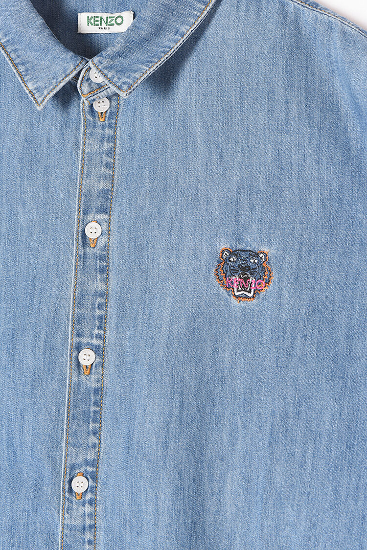 NAVY BLUE Tiger Crest Denim Shirt  for women KENZO