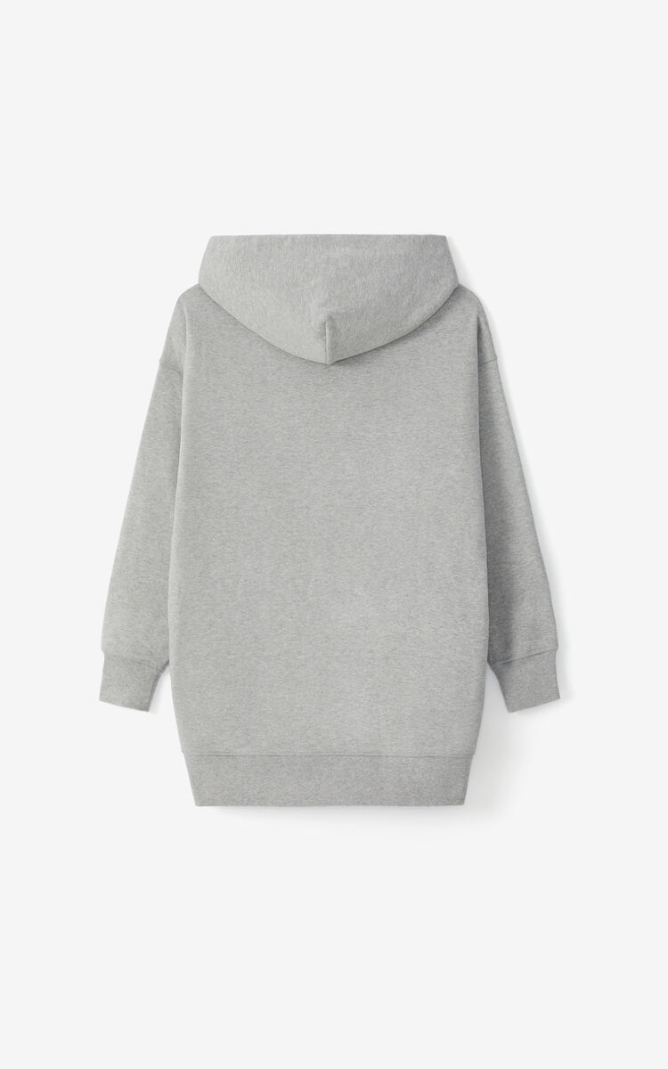 PEARL GREY K-Tiger oversized hooded sweatshirt dress for women KENZO