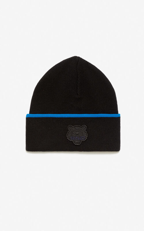 BLACK Two-tone Tiger beanie for unisex KENZO
