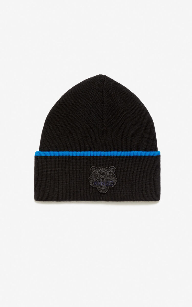 BLACK Two-tone Tiger beanie for women KENZO