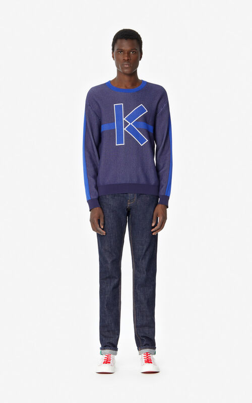 NAVY BLUE Slim-fit rolled-cuff jeans for men KENZO