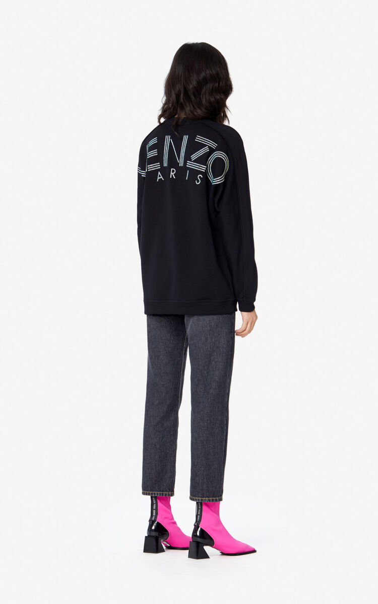 BLACK Glitter KENZO Logo sweatshirt for women