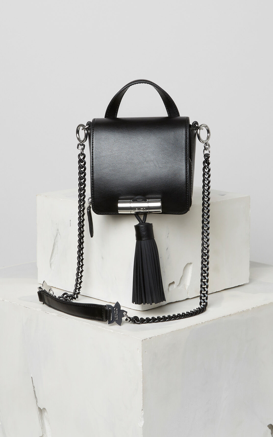 BLACK Mini Sailor bag in leather for women KENZO
