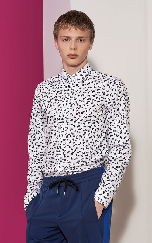 Printed Slim Fit Shirt, WHITE, KENZO