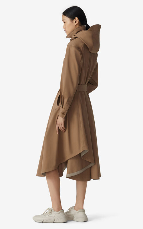 DARK BEIGE Long belted coat for women KENZO