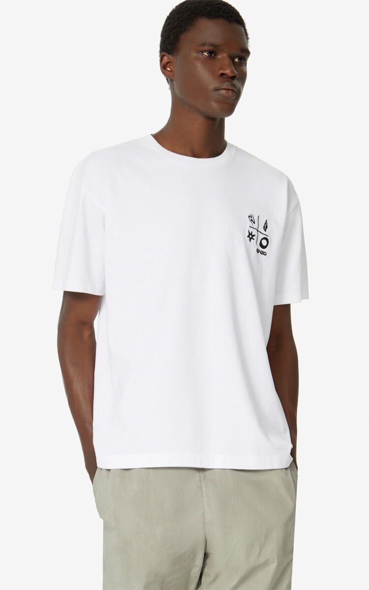 WHITE 'Compass' T-shirt   for men KENZO