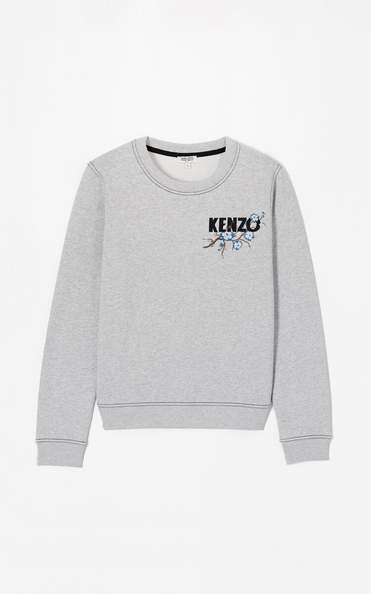 PALE GREY 'Cheongsam Flower' embroidered sweatshirt for women KENZO
