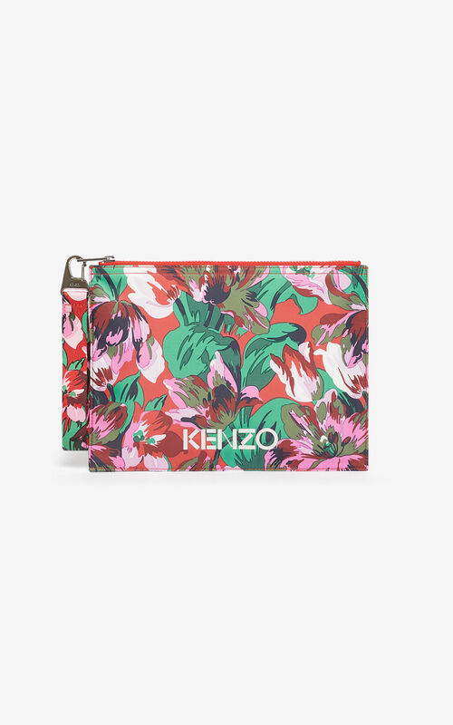 MEDIUM RED A4 'Tulipes' clutch KENZO