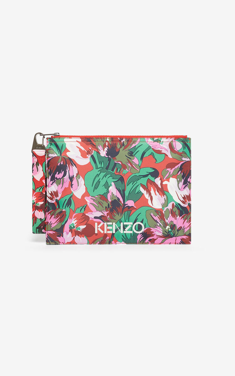 MEDIUM RED A4 'Tulipes' clutch for global.none KENZO
