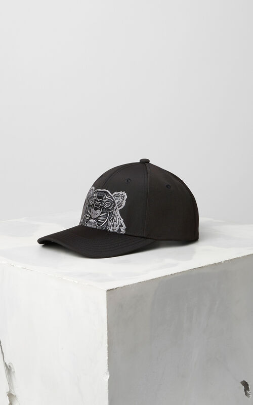 BLACK Tiger Canvas Cap for men KENZO