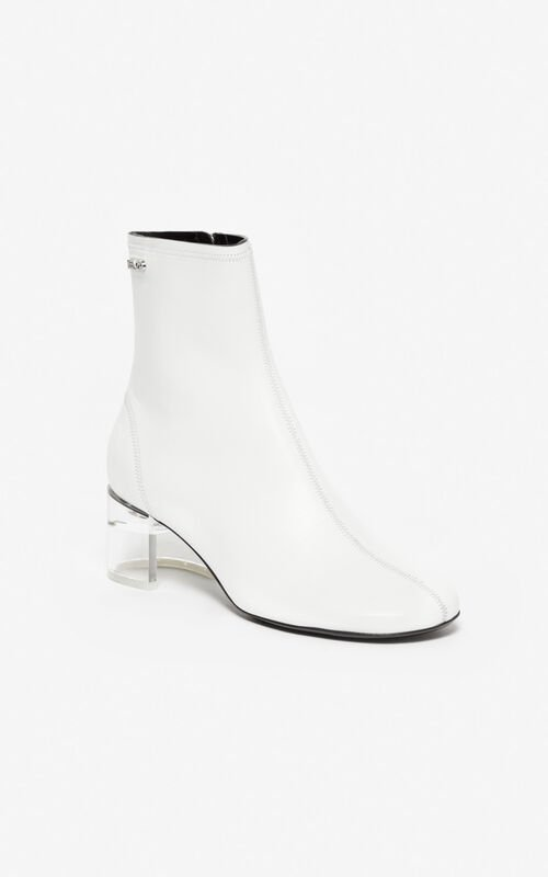 WHITE K-Round high heel ankle boots for women KENZO