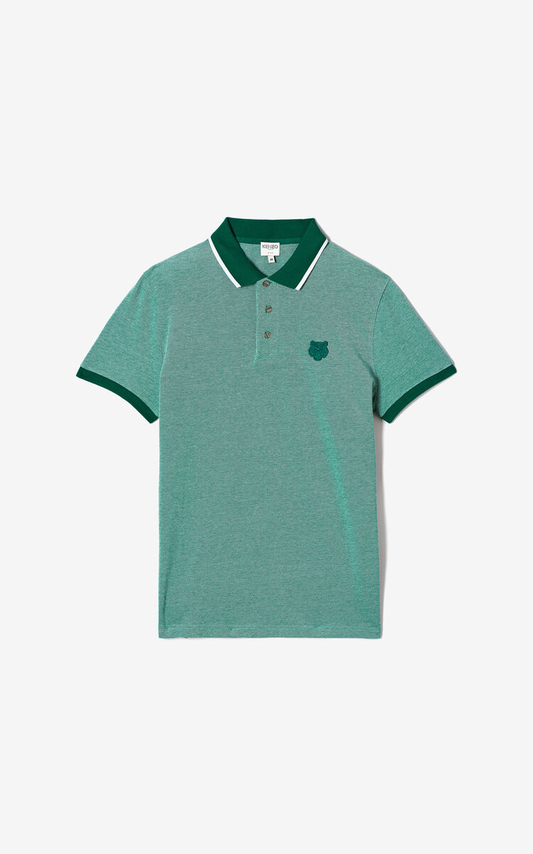 GRASS GREEN Fitted Tiger polo shirt for men KENZO