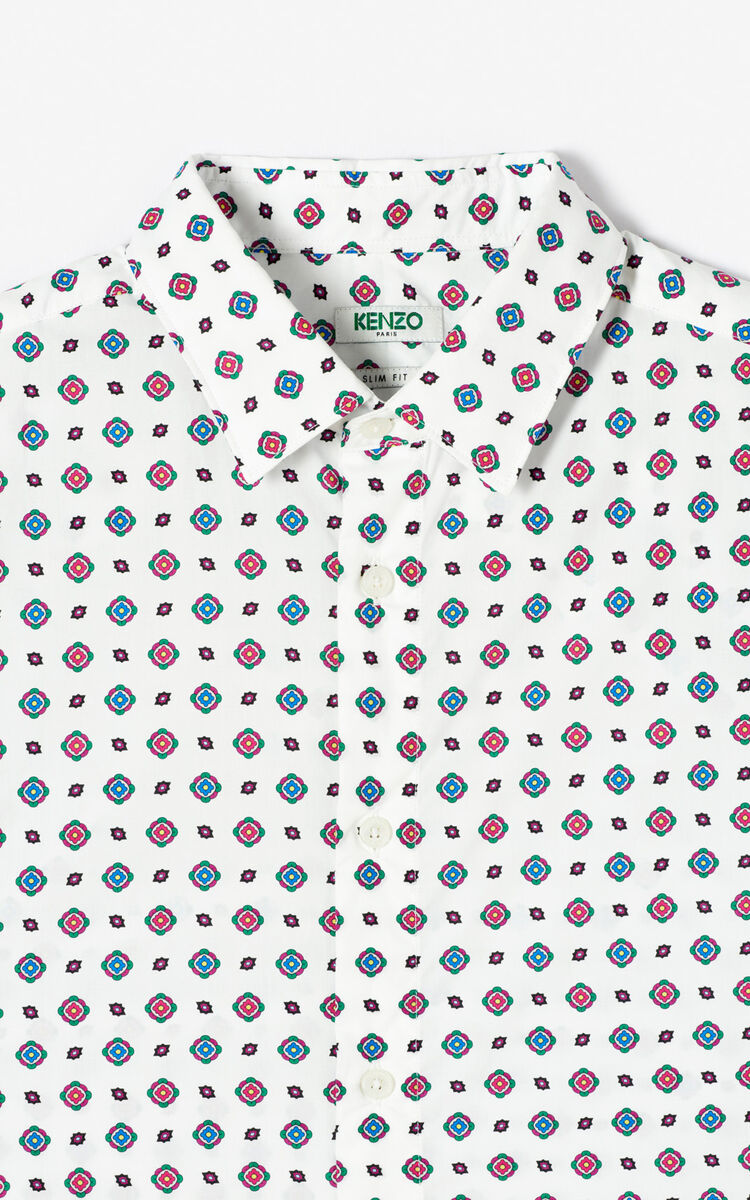 WHITE 'Médaillons' slim-fit shirt for women KENZO