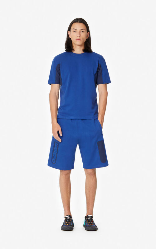NAVY BLUE Dual-material shorts for men KENZO