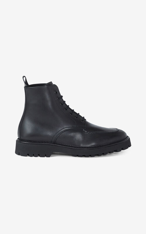 BLACK K-Mount shearling lined lace-up leather boots  for unisex KENZO