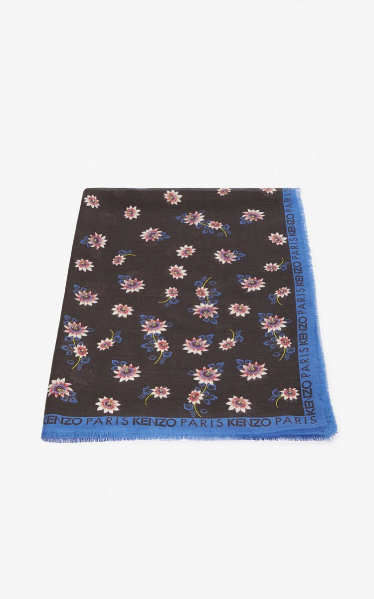 BLACK 'Passion Flowers' scarf for women KENZO