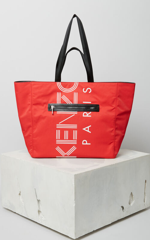 MEDIUM RED KENZO Logo tote bag for men