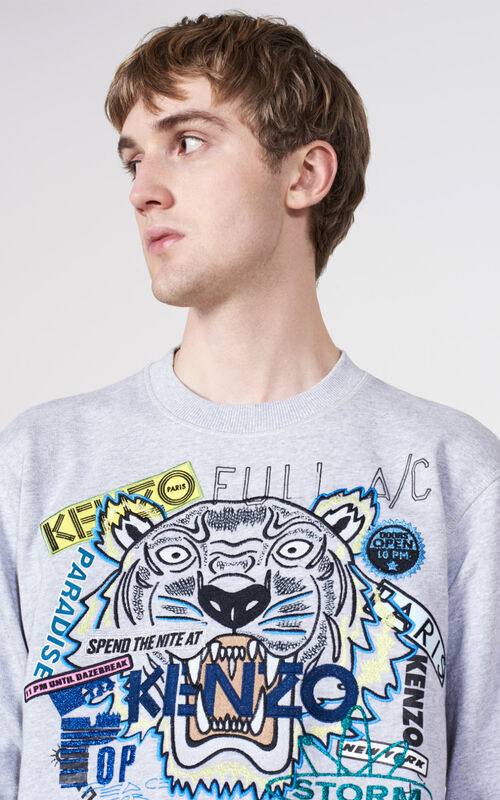 PALE GREY Tiger x Flyer Sweatshirt for men KENZO