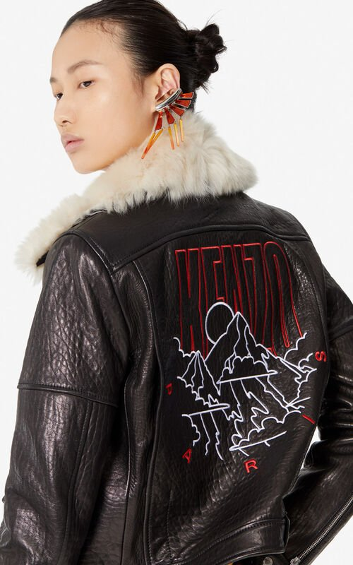 BLACK 'KENZO Mountain' leather jacket for women