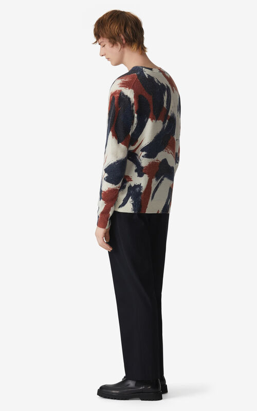 ECRU 'Brushed Camo' jumper for men KENZO