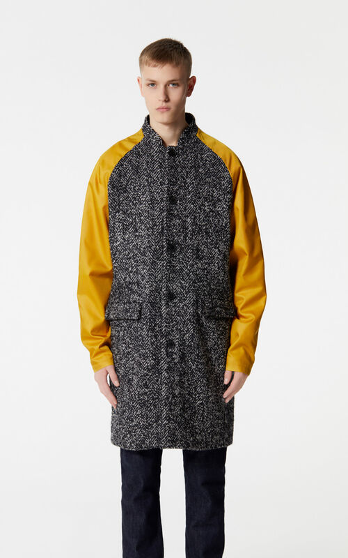 BLACK Dual-fabric coat for men KENZO