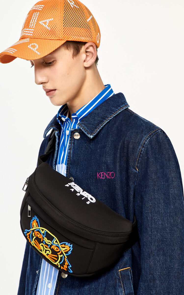 BLACK Tiger bumbag in neoprene for unisex KENZO