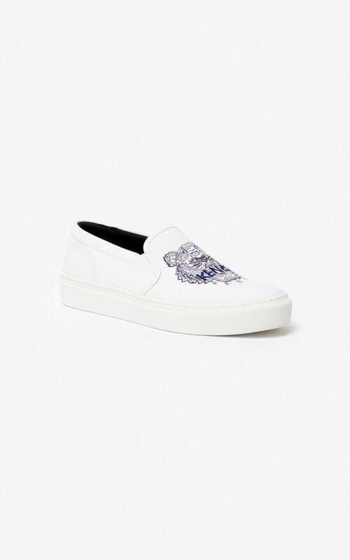 WHITE K-Skate Tiger slip-ons for unisex KENZO