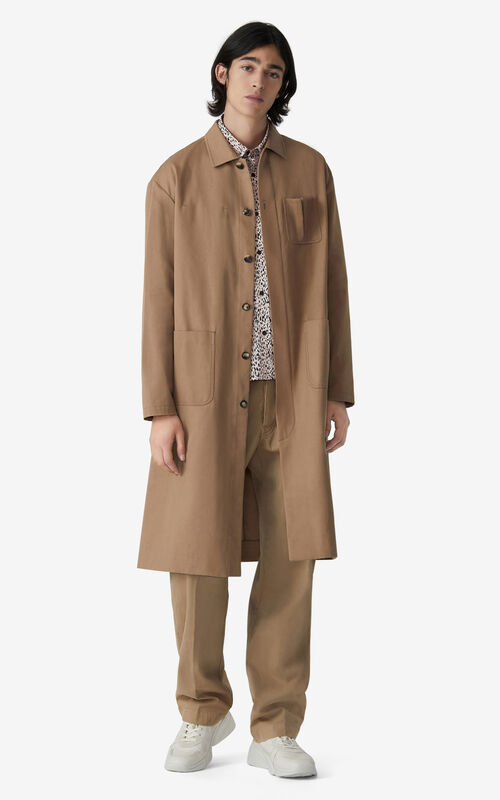 DARK BEIGE Long coat for men KENZO