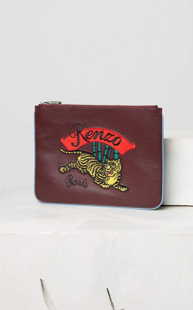 PRUNE A4 'Jumping Tiger' leather clutch for unisex KENZO