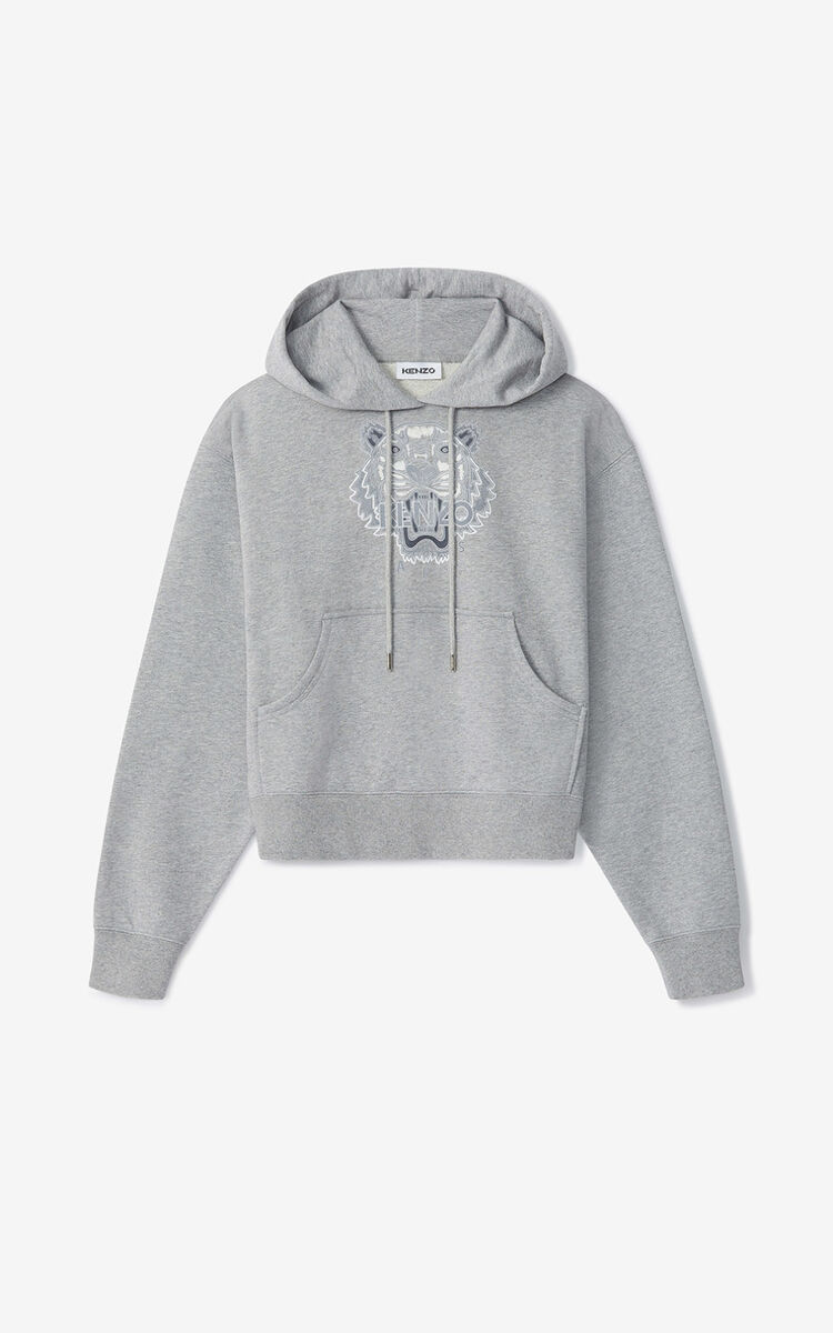 PEARL GREY Tiger Flock boxy hoodie for women KENZO