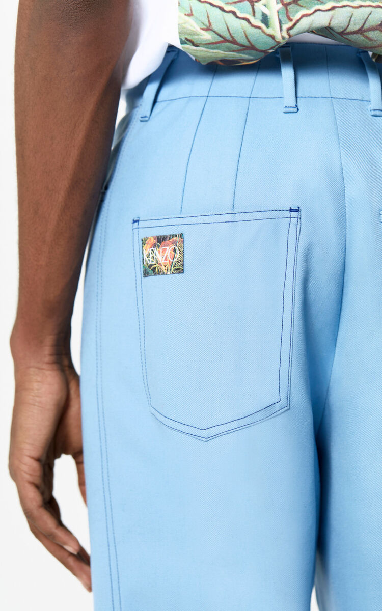SKY BLUE Pleated straight-cut trousers for women KENZO